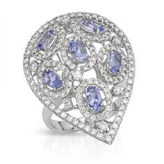 Spectacular Ring With 2.90ct TW Precious Stones - Genuine Diamonds and Tanzanites Beautifully Designed in 14K White Gold. Total item weight: 9.1g