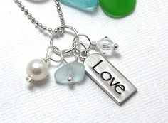 Love Sea Glass Necklace by GardenLeafSeaside on Etsy, $20.00