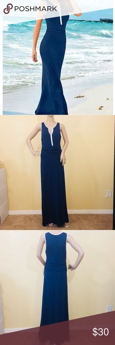 VENUS Navy Blue Maxi Sun Summer Dress Peek-A-Boo Used but in great condition! VENUS long navy blue and white maci summer sun dress! Has a peek-a-boo neckline and ruched waistline. It is perfect for the upcoming summer and vacation getaways! Size M.  Non Smoking Home Please review all photos and ask any questions prior to purchase.  Thank you for visiting my closet 💝 VENUS Dresses Maxi
