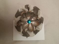 Burlap floral bobbi pin bobby pin hair accessories by unionmeg