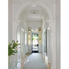 entrance halls in 2019 victorian hallway, Style At Home, Edwardian Haus, Victorian Hallway, Home Modern, Entry Hallway, White Hallway, Bright Hallway, Long Hallway, Modern Entryway