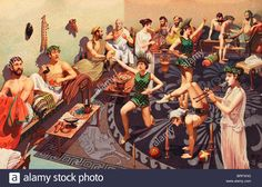 Ancient Greek men are entertained by female performers at a feast.