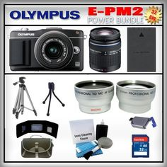 Olympus PEN E-PM2 Black 16MP Digital Camera - Olympus 14-42mm Lens - Olympus 40-150mm Lens - Wide Angle and Telephoto Zoom Lens - 32GB SDHC Memory Card - USB Memory Card Reader - Memory Card Wallet - Spare Battery - Carrying Case - Lens Cleaning Kit - Full Size and Mini Tripods by Olympus. $784.99. Olympus E-PM2  Featuring the 16 megapixel Live MOS sensor of the OM-D E-M5, the Olympus Micro Four Thirds flagship, the PEN E-PM2PM2, is optimized to maximize the pe...