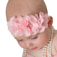 Fashion baby headband chiffon pearl diamond flower with a shimmer Headbands Baby Flower Headbands hair accessories