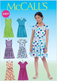 Girls Dresses McCalls Sewing Pattern No. 7079.