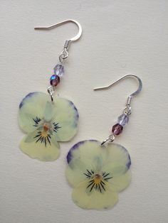 Natural Cream Pansy Earrings by EarthyEarrings on Etsy, £9.50