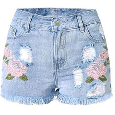floral embroidery women shorts ❤ liked on Polyvore featuring shorts, bottoms, denim shorts, embellished shorts and embellished denim shorts