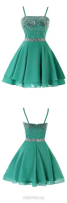 Sequins Short Prom Dresses,Inexpensive Green Homecoming Dresses,A-line Square Neckline Chiffon Cocktail Dress,Short/Mini Formal Party Gowns