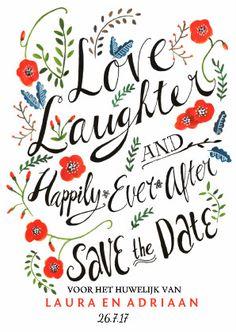 Een vrolijk en frisse kaart om je huwelijksdatum mee aan te kondigen. Hand geletterd en hand geschilderde klaprozen.   Maak je eerste kaart gratis op www.kaartje2go.nl