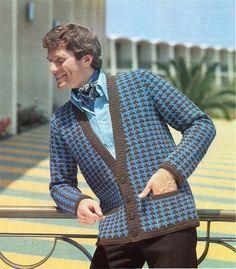 image 0 Crochet Jacket Pattern, Blazer Pattern, Sweater Knitting Patterns, Crochet Patterns, Crochet Sweaters, Sewing Patterns, Crochet Men, Crochet Beret, Vintage Man