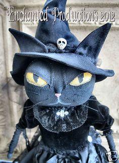 Pfatt Primitive Folk Art Halloween Black Cat Witch Doll by Joyce Stahl | eBay