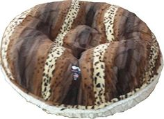 BESSIE AND BARNIE 60-Inch Bagel Bed for Pets, X-Large, Natural Beauty/Wild Kingdom ** You can find out more details at the link of the image.
