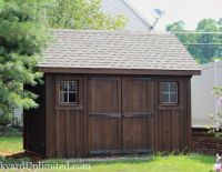 10x12 Garden Shed with Board & Batten Siding and Mushroom Stain
