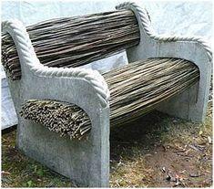 Садовые скамейки : мозаика и камень