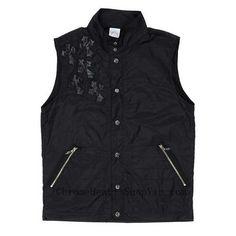 9c08521b8d60f Men s Chrome Hearts Black Leather Cross Vest with Sword Zipper