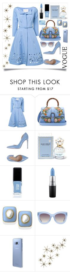 """""""BLUE DRESS STYLE"""" by qstyled ❤ liked on Polyvore featuring Carolina Herrera, Gucci, Marco Barbabella, Marc Jacobs, JINsoon, MAC Cosmetics, Alice + Olivia, Samsung and Global Views"""