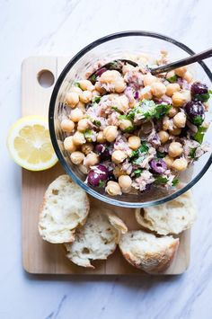 Chickpea Salad with Lemon, Tuna, and Olives. The perfect lunch for a fresh, pantry staple meal that is good on the budget and even better for you! Chickpea Tuna, Chickpea Stew, Easy Pasta Salad Recipe, Best Pasta Salad, Canning Whole Tomatoes, My Best Recipe, Pasta Dishes, Pasta Meals, Bean Recipes