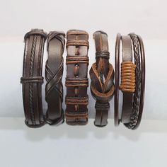 5 Piece Men's Women's Handmade Leather by BraceletStreetUSA