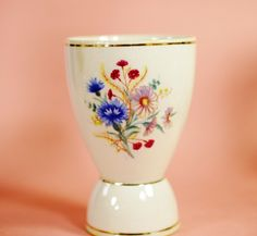 Arabia Finland 1949 - 1964 Egg Cup Flower Floral #29 Mid Century Modern Shabby Chic by MissVickiVintage on Etsy https://www.etsy.com/listing/257409035/arabia-finland-1949-1964-egg-cup-flower