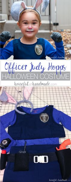 Officer Judy Hopps ready for duty! This is the perfect halloween costume for a strong little (or big) girl. See how easy it is to make an Officer Judy Hopps Halloween costume, complete with Fox Away!   Housefulofhandmade.com