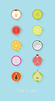flat fruits icon set