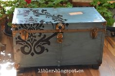 turquoise trunk with a flourish, painted furniture, repurposing upcycling, rustic furniture, storage ideas Wooden Trunks, Old Trunks, Vintage Trunks, Trunks And Chests, Antique Trunks, Vintage Suitcases, Recycled Furniture, Furniture Projects, Rustic Furniture