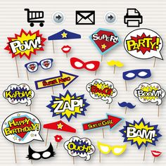 Superhero Photo Booth Printable Props - Superhero Party Decorations - Superhero Party Signs - Super Hero Party - Instant Download - DIY by SurpriseINC on Etsy