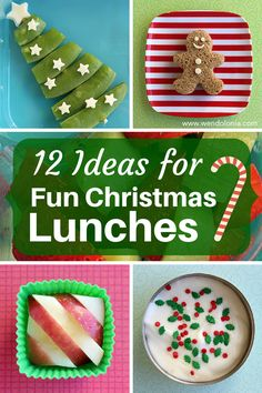 12 Ideas for Fun Christmas Lunches - good for a bento box or for just putting on a plate. Healthy too!