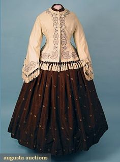 c. 1850-1890 EMBROIDERED WOOL JACKET, Cream w/ fitted back & pagoda sleeve, embroidered in black, grey & lavender, silk fringe trim, lined in cream China silk.
