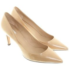 Pre-owned pumps in beige (580 BRL) ❤ liked on Polyvore featuring shoes, pumps, beige, spiked heel pumps, leather pumps, maxmara shoes, beige pumps and beige leather pumps
