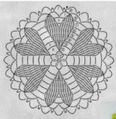 from Crochet heart pattern Crochet Coaster Pattern, Crochet Doily Diagram, Crochet Mandala Pattern, Crochet Square Patterns, Crochet Circles, Crochet Flower Patterns, Crochet Chart, Thread Crochet, Crochet Doilies