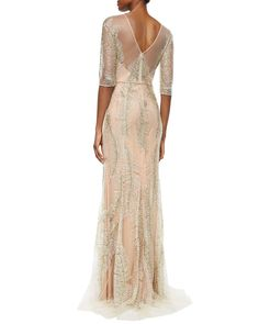 Jenny Packham Fern-Sequined Tulle Gown
