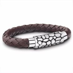 Walk around in style with this Vintage Brown Braided Rope Leather Bracelet from Ring to Perfection! Made of premium leather and stainless steel magnetic lock. Layered Bracelets, Braided Bracelets, Bracelets For Men, Bangle Bracelets, Leather Bracelets, Bangles, The Fresh, Bracelet Making, Brown Leather