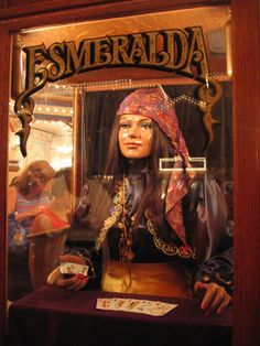 "used to love these - the one I used to see all the time wasn't this cool - you just stuck your hand on a ""crystal ball"" and the voice of esmerelda came out of the machine"