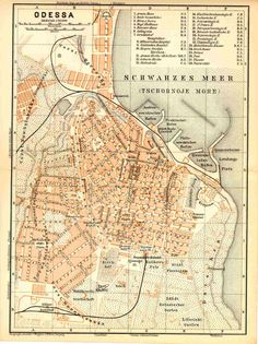 Карта Одессы 1892 г. Бедекер Карта (на немецком языке)