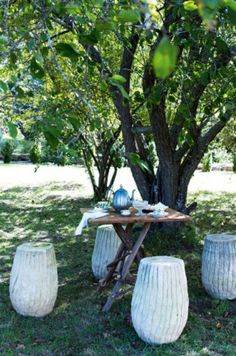 Under a crabapple four umbrella stands have been turned into outdoor stools