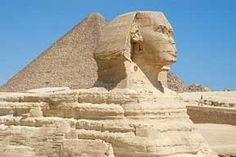 The Sphinx and the Great Pyramid in Giza, Egypt
