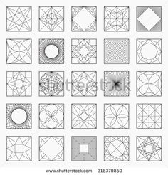 Set of geometric elements / icons, square pattern, vector illustration, un-expanded strokes