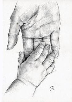 Art Drawings Sketches Simple, Pencil Art Drawings, Realistic Drawings, Easy Drawings, Sketches Of Hands, Amazing Drawings, Dad Drawing, Painting & Drawing, Mother Art