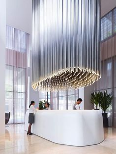 Cool light installation at Studio M Hotel reception in Singapore