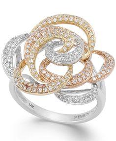 Trio by Effy Diamond Tri-Tone Flower Ring in 14k Gold (5/8 ct. t.w.)