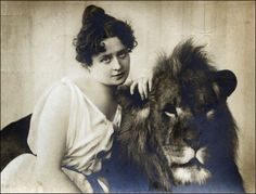 Find out more about Miss Claire Heliot, circus lion tamer, here.      Miss Claire Heliot - circus lion tamer 1904 (by unexpectedtales)