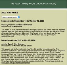 We're celebrating 20 years of the Kelly Writers House this year. For the past 15 years we have offered free, open, online book discussion groups. Yes, free. Here are the offerings that first year: http://writing.upenn.edu/wh/involved/groups/bookgroups/archives/2000.html #KWH20