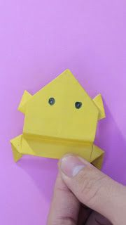 origami frog youtube gấp con ếch bằng giấy Lotus Origami, Bunny Origami, Origami Frog, Origami Yoda, Origami Ball, Origami Dragon, Origami Instructions, Origami Tutorial, Sticky Note Origami