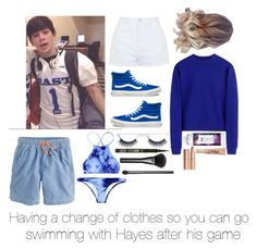 """""""Swimming with Hayes after his game ❤️"""" by lindseypage ❤ liked on Polyvore featuring Topshop, J.Crew, Vans, R+Co, tarte, Gucci and Acne Studios"""
