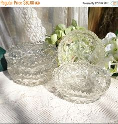 ON SALE 4 clear glass bowl set candy dish trinket ring jewelry nuts potpourri scallop etched victorian shabby cottage wares decor sa by WonderCabinetArts