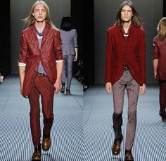 John Varvatos 2016 Spring Summer Mens Runway Catwalk Looks - New York Fashion Week Mens - Dandy Stripes Umbrella Tailored Three Piece Double-Breasted Three Button Suit Silk Outerwear Coat Blazer Pants Trousers Scarf Beetlejuice Rock N Roll Vest Waistcoat Gilet Overcoat Zipper Cardigan Moto Motorcycle Biker Rider Leather Racer Mesh Net Bandanna Bomber Jacket Jeans Check Bag Tote Backpack