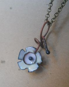 pendant necklace TORCH ENAMELED FLOWER white copper metal industrial jewelry steampunk. $16.00, via Etsy.