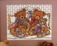 Joan Elliott '' Cross stitch TEDDIES ''Cozy Bears Cross Stitch Boards, Cross Stitch For Kids, Simple Cross Stitch, Cross Stitch Baby, Cross Stitch Animals, Cross Stitching, Cross Stitch Embroidery, Cross Stitch Patterns, Cross Stitch Pictures