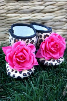 Boutique Leopard Baby Girl Booties Baby Infant by FancyFaceCouture